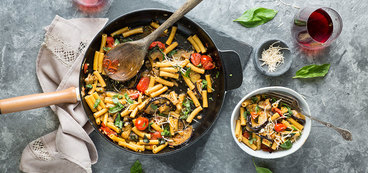 Pasta alla Norma with Blistered Tomatoes and Fresh Basil