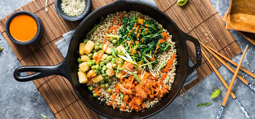 Seoul Bowl with Sesame Spinach and Seeded Rice