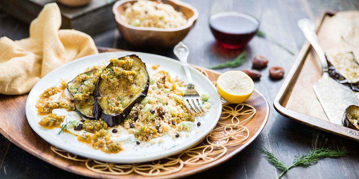Mediterranean Eggplant with Cubanelle Chermoula and Apricot Couscous