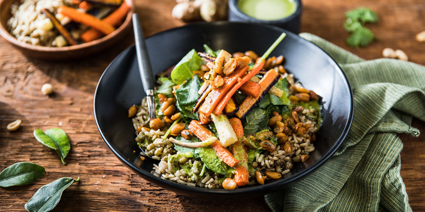 Fusion Rice Bowl with Kaffir Lime Peanuts and Cilantro Ginger Dressing