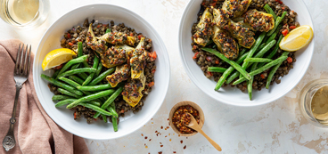Walnut Crusted Artichokes with Dijon Lentils & Green Beans