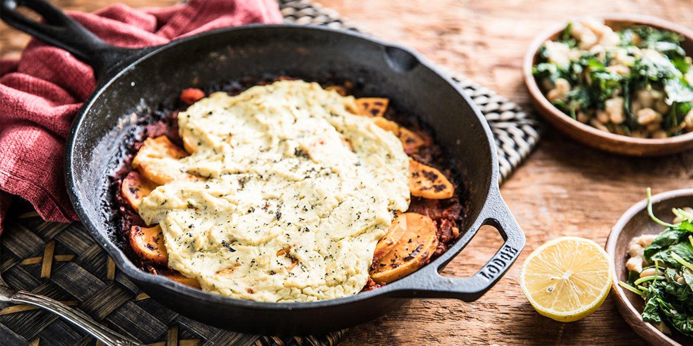 Sweet Potato Lasagna with Tofu Ricotta and Marinated Bean Salad
