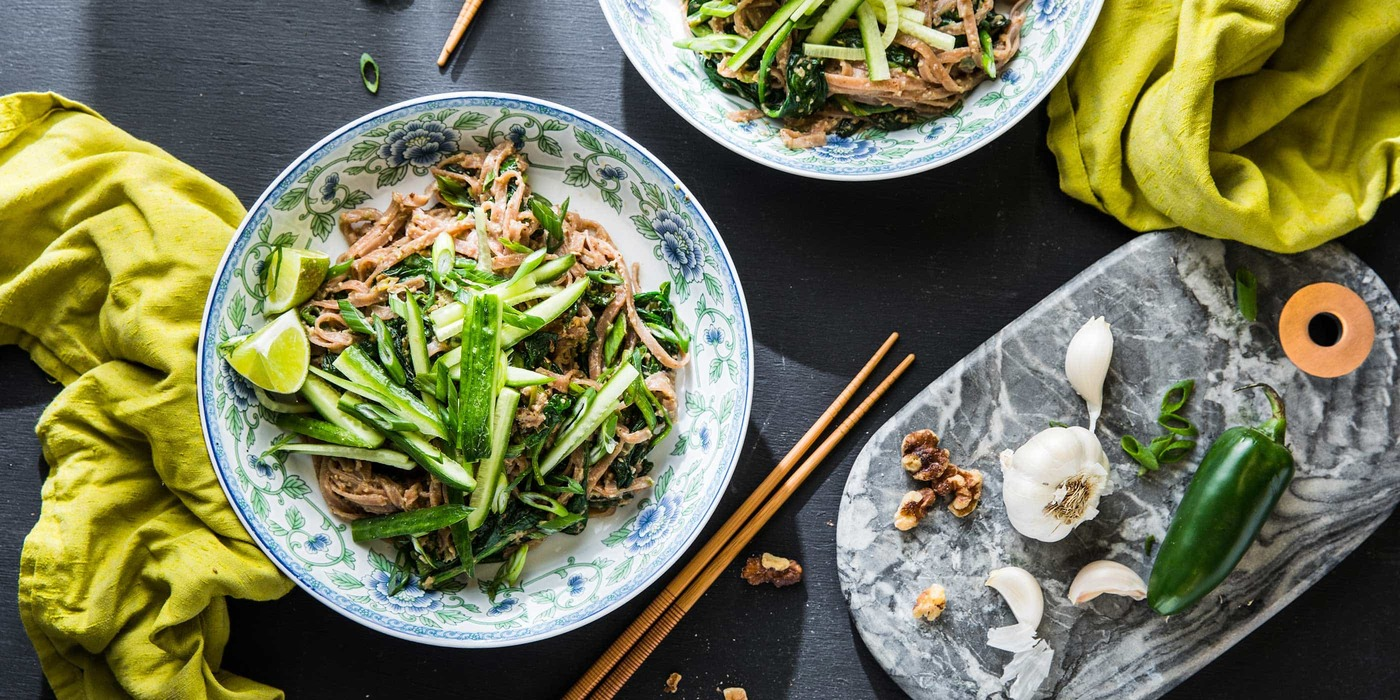 Spicy Dan Dan Noodles with Walnuts and Spinach