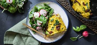 Sun-dried Tomato and Basil Quiche with Potato Crust and Baby Kale Salad