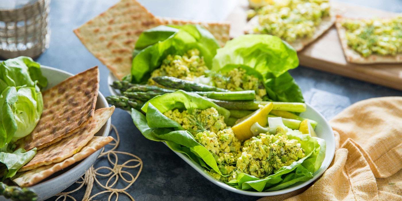 Butter Lettuce Wraps  with Egg-less Salad and Lemon Butter Asparagus