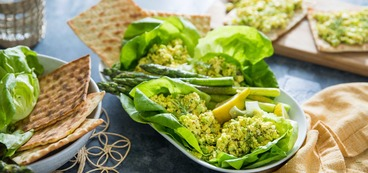 Butter Lettuce Wraps  with Egg-less Salad and Lemon Butter Asparagus