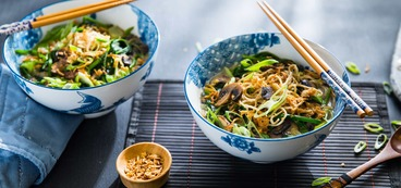 Coconut Ramen with Water Spinach and Crispy Onions