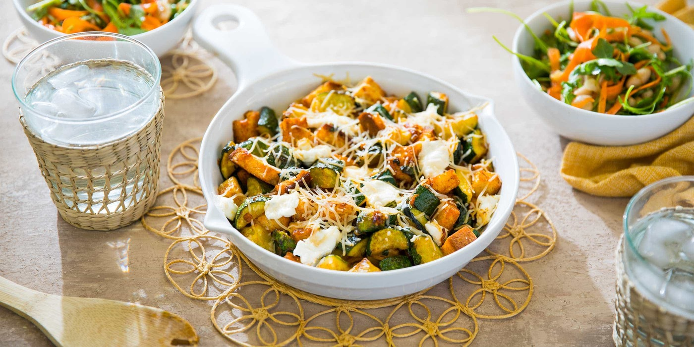 Zucchini Casserole with Fresh Basil and White Bean Arugula Salad