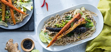 Whole Roasted Carrots with Ginger Lime Udon and Bok Choy