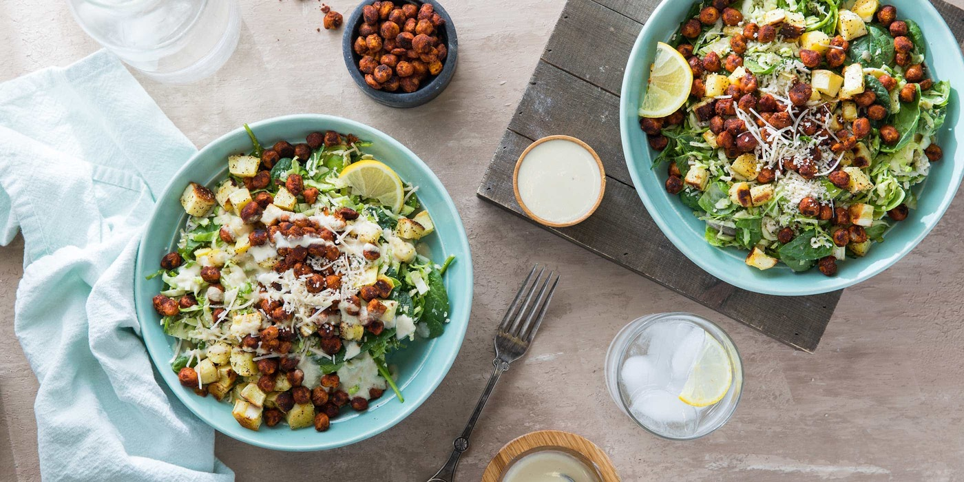 Brussels Sprout Caesar Salad with Smoky Paprika Chickpeas and Parsnip Croutons