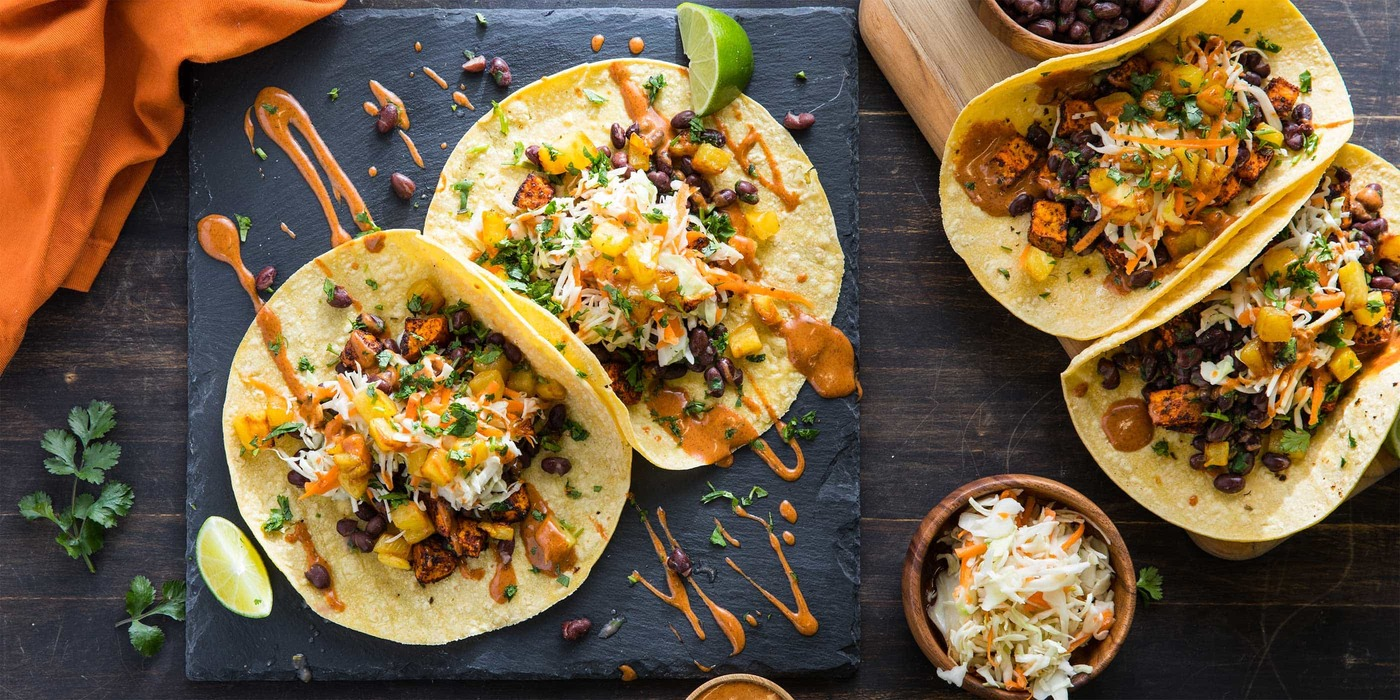 Roasted Sweet Potato Tacos with Caramelized Pineapple and Chipotle Ranch