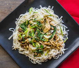 Lo Mein with Soy-Glazed Mushrooms and Bok Choy image