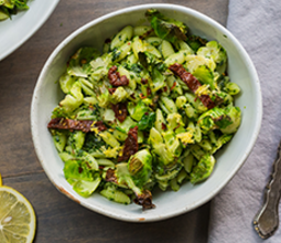 Kale Pesto Cavatelli with Crispy Brussels and Sundried Tomatoes image