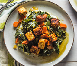 Cajun-Baked Tofu with Braised Collards and Creamy Grits