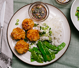 Potato Korokke with Sushi Rice and Gingered Snow Peas