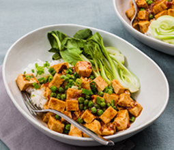 Mapo Tofu with Steamed Bok Choy and Jasmine Rice