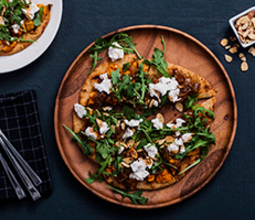 Sweet Potato Naan Flatbread with Truffled Almond Cheese