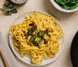 Pumpkin Fettuccine Alfredo with Crispy Sage and Broccoli Rabe