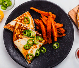 Kimchi Quesadilla with Togarashi Sweet Potato Fries and Meyer Lemon Aioli