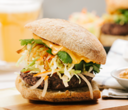 Southwestern Black Bean Burger with Curtido Slaw and Chipotle Aioli
