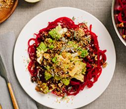 Beet Noodles with Romanesco and Hazelnut Hemp Seed Crumble