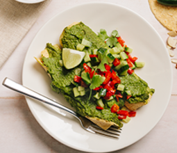 Black Bean Enchiladas with Green Romesco and Cucumber Salsa Fresca