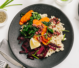 Winter Roasted Vegetables over Couscous with Kalamata Olive Vinaigrette