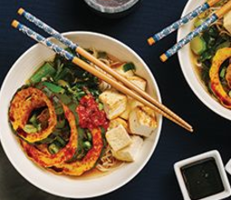 Acorn Squash Ramen with Buckwheat Noodles and Togarashi