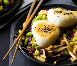 Yaki Onigiri with Edamame Cabbage and Carrot Ginger Dressing