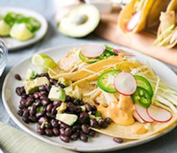 Crispy Hearts of Palm Tacos with Chipotle Aioli & Avocado Black Bean Salad