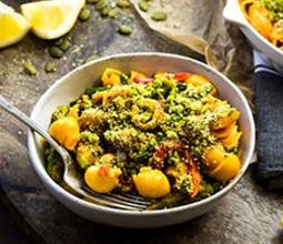 Creamy Roasted Red Pepper Pasta with Asparagus & Pepita Parmesan