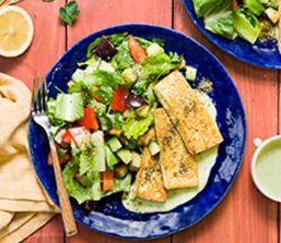 Tofu Halloumi with Roasted Eggplant and Herb Tarator Sauce