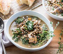 Creamy Lentil Mushroom Stew with Kale