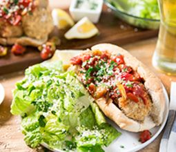 White BeanBall Sub with Arrabiata Sauce & Romaine Salad