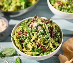 Tagliatelle with Bright Pesto & Spring Vegetables