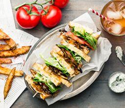 Portobello Mushroom BLT with Herb Mayo & Zesty Steak Fries