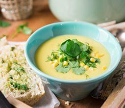 Creamy Corn & Fennel Chowdah with Dilly Garlic Bread