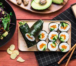 Sushi-rito with Sesame Aioli and Snap Pea Salad
