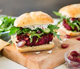 Beet Burger with Roasted Grapes & Herb Garlic Cashew Cheese