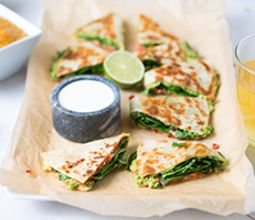 Roasted Red Pepper and Spinach Quesadilla with Refried Red Lentils & Lime Crema