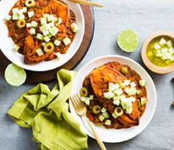 Stuffed Sweet Potatoes with Spicy Soyrizo Picadillo & Chayote Salsa