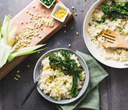 Sweet Corn Risotto with Lemon Parmesan Broccolini & Chervil
