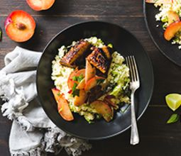 Maple Tempeh with Lime Couscous Salad and Minty Plums