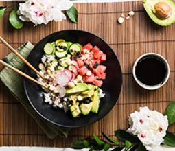 Watermelon Poke Bowl with Macadamia Nuts & Sea Lettuce Dressing