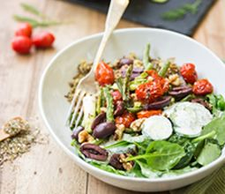 Ancient Grain Bowl with Za'atar Roasted Cherry Tomatoes & Yogurt Cucumbers