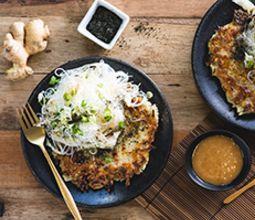 Okonomiyaki with Vermicelli Noodle Salad & Sweet Shoyu