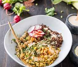 Elote Bowl with Lime Chickpeas & Quinoa