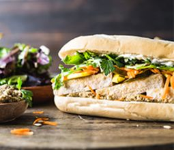 Tofu Banh Mi with Sunflower Seed Pate and Squash Pickles