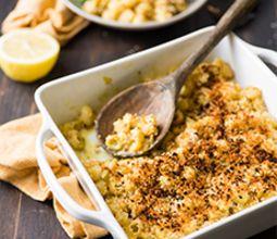 Creamy Mac n' Cheese with Green Chiles and Garlic Broccoli