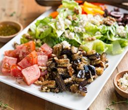 "Greek Salad with Za'atar Eggplant and Marinated ""Feta"""